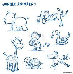 Vektor Cute cartoon jungle safari animals hippo t Bird Drawings, Cartoon Drawings, Easy Drawings, Animal Drawings, Drawing Cartoon Animals, Cartoon Jungle Animals, Safari Animals, Jungle Safari, Cartoon Giraffe