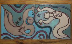 "Vintage Art Tile Mural CELESTIAL DREAMS Wood Frame 13.5"""