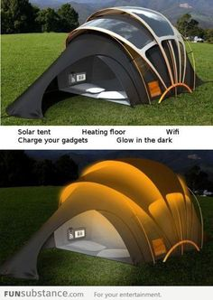 Solar powered camping -- heated, with gadgets. For backyard camping
