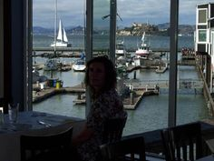 Fog Harbor Fish House: Alcatraz to the north, GG to the west