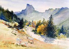 Gilles Durand, Lumière du Vercors, aquarelle,