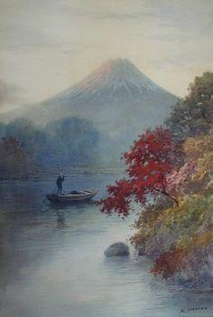 A watercolour of Mount Fuji by Hiroshi Yoshida, (1876-1950), Japanese artist.