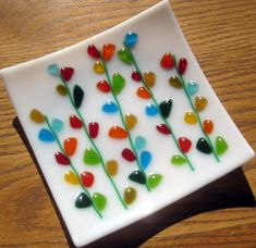 Fused Glass Plate, Blooming Branches on White