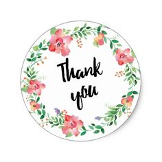 Wreath Wedding Thank You Cards Wreath watercolors flowers classic round sticker Thank You Tag Printable, Thank You Stickers, Printable Tags, Printable Stickers, Custom Stickers, Printables, Wreath Watercolor, Watercolor Flowers, Bff Gifts