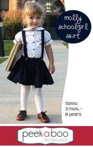 """The Molly Schoolgirl Skirt has the perfect amount of vintage flair for your little one. The Molly features a full skirt and optional suspenders. Waistband is free from elastic for a grown-up feel but the skirt is still adjustable and easy on/off.Pairs perfectly with the Molly Schoolgirl Blouse. Buy both and save $4 at checkout with the code """"schoolgirl"""".Pattern comes with a full tutorial and color photos in an easy to print PDF. New to sewing"""