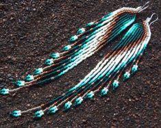 "Swan Designs ""Copper Glow"" Long Seed Bead Earrings on Etsy Seed Bead Jewelry, Seed Bead Earrings, Wire Jewelry, Beaded Earrings, Jewelry Crafts, Seed Beads, Beaded Jewelry, Handmade Jewelry, Beaded Bracelets"
