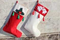 Christmas Stocking Set holly berry stocking Tassel stocking christmas bell stocking Hey, I found this really awesome Etsy listing at https://www.etsy.com/listing/549982778/white-stocking-set-holly-berry-stocking