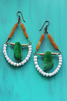Large green stone earrings, shell, agate, glass.