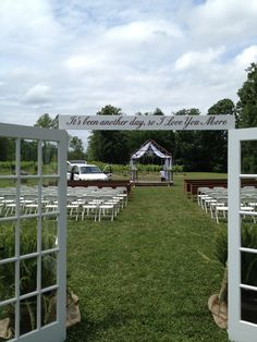 Beautiful french doors opening up to the seating area for the wedding ceremony at Natchez Hills Vineyard.