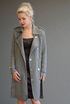 Вязаное пальто из толстой пряжи (110 фото)