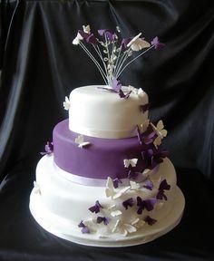 purple butterfly wedding cake by caketasia, via Flickr