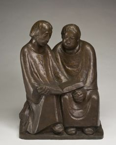 Ernst Barlach, Reading Monks. 1932, Wood, 83cm height, Nationalgalerie, Berlin. It was confiscated and sold by the Nazi regime at the Galerie Fischer auction in Switzerland in 1939.