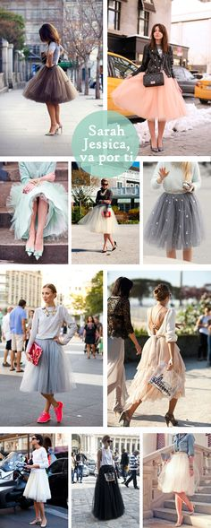 I love big fluffy tulle skirts with causal tops