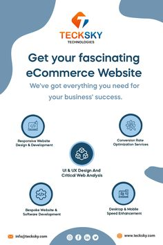 Get your fascinating eCommerce Website with us. @tecksky offers the best services to lay a strong foundation for creating and developing a website Starting from initial e-commerce consulting to creating a strategy, #websitedesign, development, custom solutions, site #hosting, user-friendly manner, and everything else, we shall get it done for you in the best way so that you can have a smooth e-commerce service website. Contact Us for More Details 📞 Call On: +91- 9426418919 Web Development Company, Design Development, Software Development, Site Hosting, Getting Things Done, Mobile App, You Got This, Ecommerce, Initials