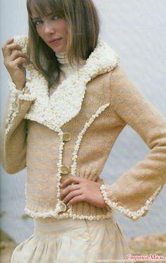 Куртка-жакет спицами с имитацией меха и дубленки