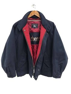 e0d3b8b6534 Burberry 🔥🔥Vintage Burberrys Navy Blue Zipper Hidden Button Jacket Size l  - Bombers for