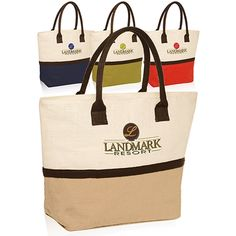"Promote your brand in style with this two tone jute tote bag! The bag measures 17.5""W x 13.5""H with a 6"" gusset. It features a large main zippered compartment for holding groceries and other everyday essentials. The environmentally friendly bag is available in multiple color options. It can be customized with a silkscreen or color splash imprint of your logo or design. Make a lasting impression by giving this practical product out at tradeshows or conventions!"