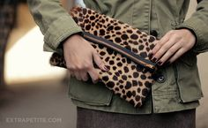 Winter Casual: Army jacket, ankle boots DIY leopard clutch | @Extra Petite Blog