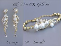 'Tilly' Gold Pearl Wedding Set  by JamJewels1