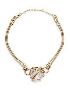 Alexis Bittar - Miss Havisham Caged Rock Crystal Bib Necklace