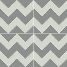 Cement Tiles - Ardoz 924 B 8 x 8 Deco - By Granada Tile Concrete Tiles, Concrete Floor, Happy Hippie, Encaustic Tile, Linear Pattern, Granite, Modern Contemporary, Chevron, Stripes