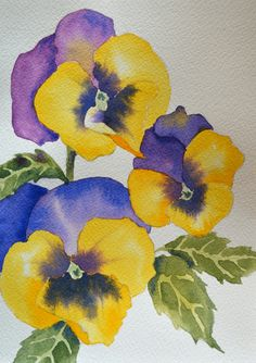#Art, Fine Art-#Watercolor Painting of #Pansy #Flowers #handmade #thecraftstar $50.00