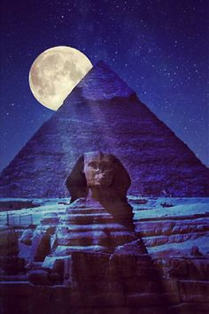 Spatial: Interesting night view of Egypt and Sphinx. Possible Heath research. --Pyramid At night, Cairo, Egypt: Whatsapp Animated Gifs, Moonlight Photography, Great Pyramid Of Giza, Shoot The Moon, Moon Pictures, 2016 Pictures, Pyramids Of Giza, Egypt Travel, Africa Travel