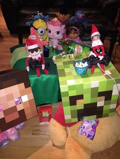 Elf on the Shelf Ideas: Served themselves some popcorn while we were getting ready for school. Perfect for my two back labs!!  When I returned from school the bus, the Minecraft setup was destroyed.