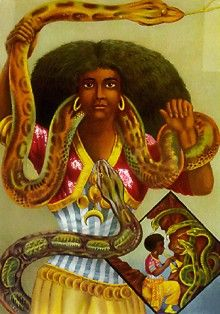 Mami Wata is one of the most popular and powerful water spirits in African culture. She is most often portrayed as a mermaid, she heals the sick and brings good luck to her followers. #MythicCreatures
