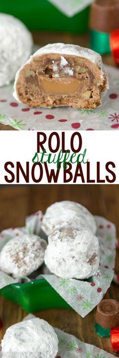 Rolo Stuffed Snowballs - an easy chocolate snowball stuffed with a Rolo! These is the best holiday cookie recipe ever!