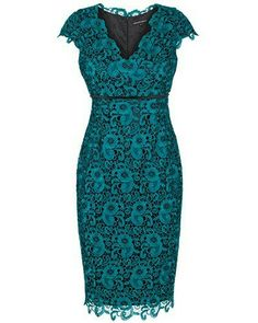 Anthea Crawford: Twilight lurex lace and stretch satin dress with waist detail – $599