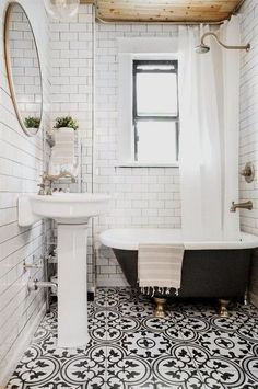 Vintage Vintage and modern come together in this beautiful black and white bathroom makeover! - Vintage and modern come together in this beautiful black and white bathroom makeover! Boho Bathroom, Bathroom Trends, Bathroom Floor Tiles, Bathroom Renovations, Bathroom Interior, Bathroom Ideas, Bathroom Makeovers, Bathroom Designs, Room Tiles