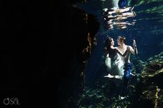 Riviera Maya Photography Cenote Trash the Dress, shall we dance underwater?  Mexico wedding photographers Del Sol Photography