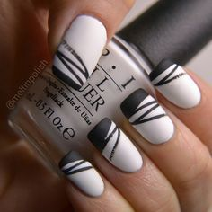 Nailpolis Museum of Nail Art | Black & White nails, nail art by Meltin'polish