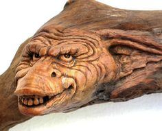 ORIGINAL WOOD SPIRIT CARVING TROLL GARGOYLE OGRE PREDATOR  OOAK NANCY TUTTLE