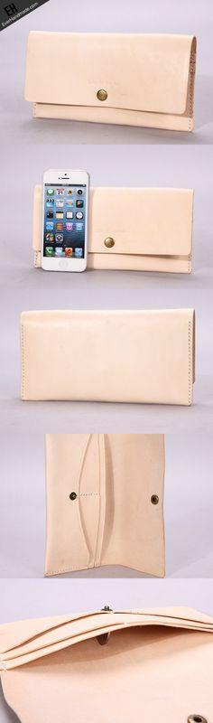 Handmade beige minimalist vintage leather phone clutch long wallet for | EverHandmade