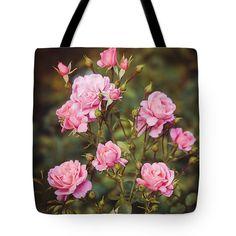 Rose Bush Pink Retro Anna Matveeva Photographers. Tote Bag featuring the photograph Rose Bush Pink Retro by #AnnaMatveeva #FineArtPhotography #ArtForHome #FineArtPrint #Rose #Bush #Pink #Retro #Bag