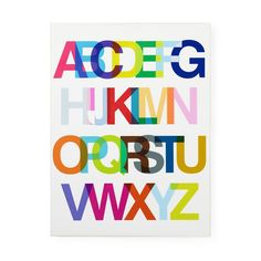 Kids' Wall Art: Kids' Helvetica Font Alphabet Wall Art in Alphabet Wall Art
