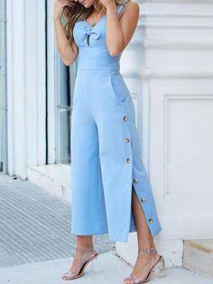 Solid Tied Front Side Button Design Jumpsuits Mini dress fashion Short bodycon dress Mini dress with sleeves Bodycon fashion Fashion outfits Jumpsuit fashion Trend Fashion, Mod Fashion, Fashion Sewing, Fashion Pants, Girl Fashion, Fashion Dresses, Womens Fashion, Arab Fashion, Sporty Fashion