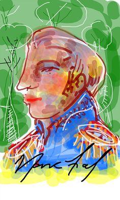 Visconde de Pokentemon portrait. Ilustração feita em tela de aparelho celular. Paulo Moura, 2015.