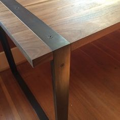 Walnut and blackened steel desk. #handmade #woodworking #details