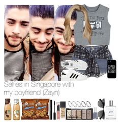 """Selfies in Singapore with my boyfriend (Zayn)"" by jaynnelinsstyles ❤ liked on Polyvore featuring Levi's, Samsung, 3.1 Phillip Lim, adidas, NARS Cosmetics, H&M, Revlon, shu uemura, Essie and philosophy"
