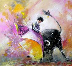 Gallery featuring the modern colourful and vibrant gouache bullfight paintings in loose style by the French artist living in Spain Miki de Goodaboom Watercolor Horse, Watercolour, British Wildlife, Indian Elephant, French Artists, Portraits, Silhouette, Love Art, Art Forms