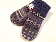 Kids' Wool Mittens BLUE Fair Isle Size XS (3-5 years) / Unisex Children's Mittens by WormeWoole