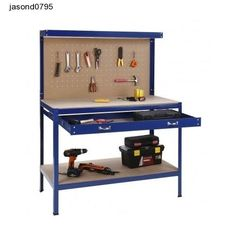 Shop VonHaus Steel Boltless Workbench Worktable Workshop Station with Drawer and Pegboard + 12 Pegs Massive Capacity 230 kg x x cm):. Free delivery on eligible orders of or more. Workbench With Pegboard, Tool Pegboard, Steel Workbench, Pegboard Garage, Workshop, Garage Shed, Drawer Shelves, Woodworking Equipment, Work Surface