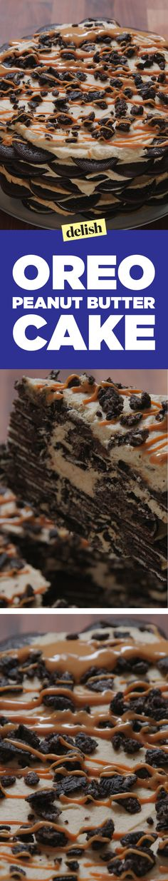 This Oreo peanut butter cake is layers upon layers of pure deliciousness. Get the recipe on Delish.com.