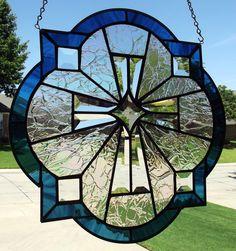 "Stained Glass Window Panel ""Beveled Majestic Cross""   eBay"