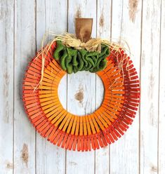Seasonal & Holiday Wreaths — Handmade by Harvey Easy Fall Wreaths, Diy Fall Wreath, Wreath Crafts, Holiday Wreaths, Wreath Ideas, Clothespin Crafts, Thanksgiving Crafts, Fall Crafts, Halloween Crafts