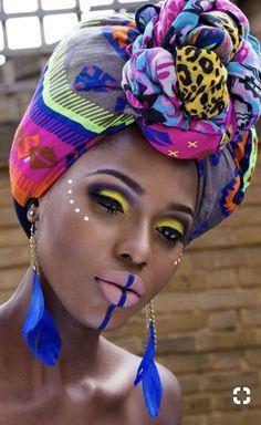 African Tribal Makeup, African Beauty, African Style, African Dresses For Women, African Women, African Attire, African Scarf, African Hair, African Crown