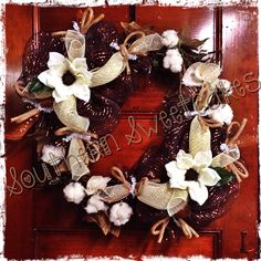 Southern Cotton Boll and Magnolia Square Grapevine Wreath!